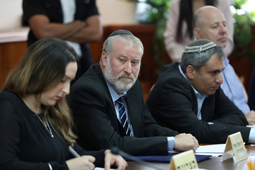 Israeli Attorney-General Avichai Mandelblit looks on during the weekly cabinet meeting in Jerusalem