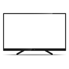 LCD TV Screen with resolution ultra HD 4k and 16:9 aspect ratio widescreen display with a blank screen realistic style icon for web design mockup isolated on white background.