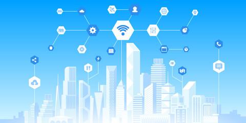 Smart city technology flat vector illustration