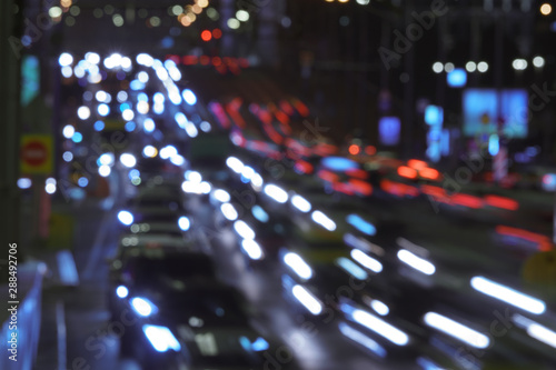 The Lights Of Blurred Motion Of Cars On The Highway Long