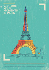 Eiffel Tower Vector Illustration. World famous landmark series in Retro Style. Paris, France Travel Poster.