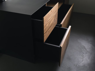 Fototapeta Closeup details of modern tv stand made from walnut and powder coated steed obraz