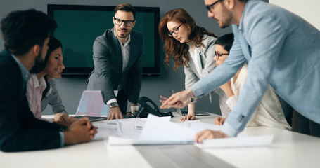 Fotobehang - Business meeting in modern conference room