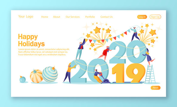 Concept of landing page on theme of preparation for the New Year. Small, flat people characters change numbers 21019 for 2020. Happy people in anticipation of the holiday. Template for web site.