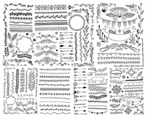 hand drawing doodle page decoration, set of vintage elements