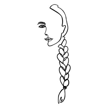 One Line Woman's Face and hair Braid. Continuous line Portrait of a girl In a Minimalist Style. Vector Illustration female. For printing on t-shirt, Web Design, beauty Salons, Posters and other things