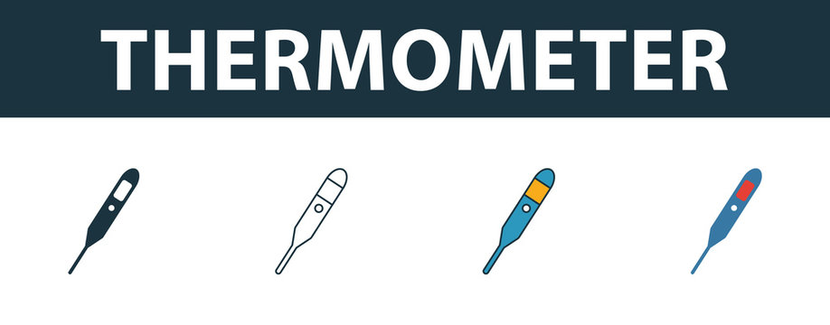Thermometer icon set. Four elements in diferent styles from medicine icons collection. Creative thermometer icons filled, outline, colored and flat symbols