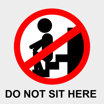 simple vector prohibition sign, do not sit here at gray background