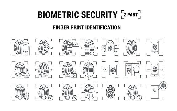 Vector graphic illustration. Set line icons. Fingerprint Identification. Outline design. Biometrics authorization. Person Recognition key. Digital access system. Cyber security. Web Sign, symbol.