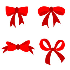 set of Red bow flat design isolated on white background