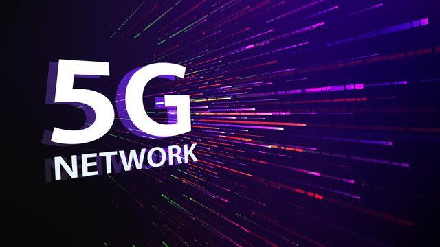 5G mobile network technology background. Internet of next generation. Neon futuristic wallpaper