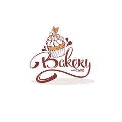 Bakery logo template, with image of cupcake and lettering composition