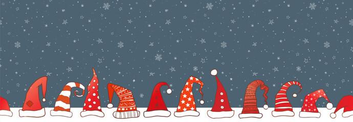 Horizontal seamless pattern with red santa hats.