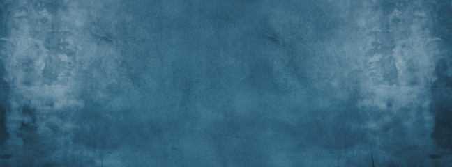 Fototapete - blue cement wall with dark texture and banner background