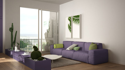 Eco green interior design, white and violet living room with sofa, kitchen, dining table, succulent potted plants, parquet floor, window, panoramic balcony. Sustainable architecture