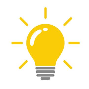 Light bulb vector icon The yellow light bulb that represents the idea.