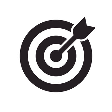 Vector icon goal. Arrows that successfully hit a target.