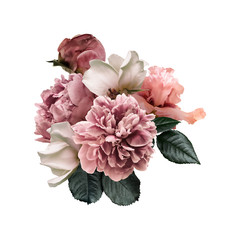 Tuinposter Bloemen Floral arrangement, bouquet of garden flowers. Pink peonies, green leaves, white roses, iris isolated on white background. Can be used for your projects, wedding invitations, greeting cards.
