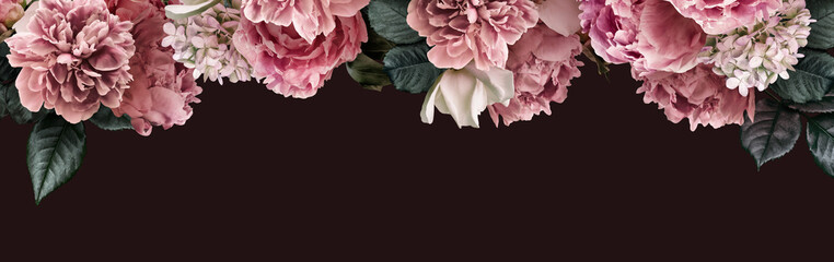 Aluminium Prints Hydrangea Floral banner, flower cover or header with vintage bouquets. Pink peonies, white roses, hydrangea isolated on black background.