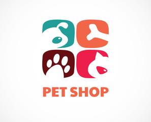 Pet shop, animals veterinary clinic, dog and cat logo, symbol. Vector design and illustration