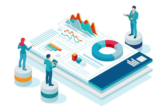 Isometric website and mobile website development concept. Website promotion and analytics, Social Media Marketing website