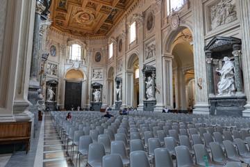 Panoramic view of interior of Lateran Basilica (Papal Archbasilica of St. John)