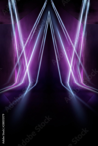 Empty Stage Blue Neon Abstract Blue Background Rays Of