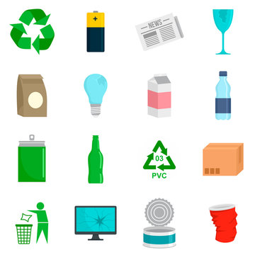 Recycles day icon set. Flat set of recycles day vector icons for web design
