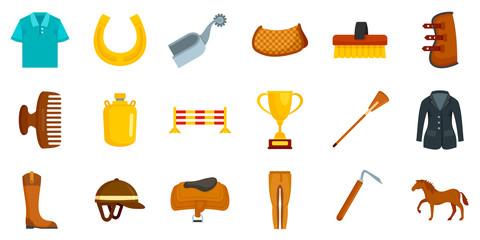 Horseback riding icon set. Flat set of horseback riding vector icons for web design Fototapete