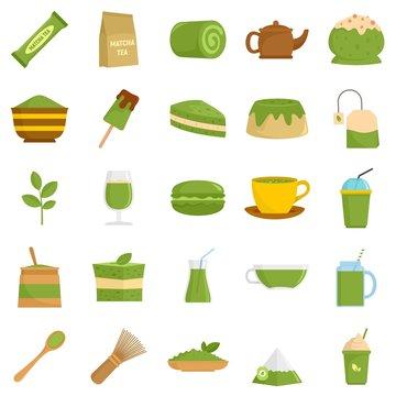 Matcha tea icons set. Flat set of matcha tea vector icons for web design