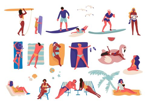 People at beach. Cartoon characters doing summer activities, surfing and swimming sunbathing. Vector outdoor vacation collection with sitting guy and girl on sun loungers