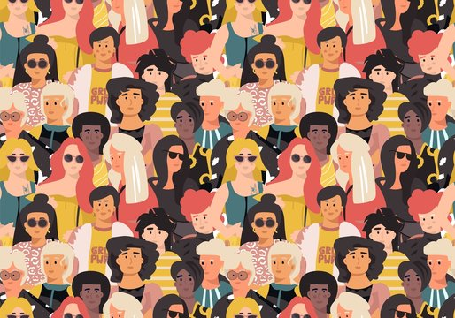 Women pattern. Cute international girl faces, seamless sketch background with ethnic women portraits. Vector illustrations feminist movement poster seamless wallpaper