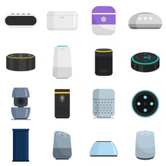 Smart speaker icons set. Flat set of smart speaker vector icons for web design