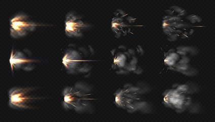 Gun flash. Realistic muzzle flash and shotgun fire and smoke special effects isolated on transparent background. Vector illustration 3D blast motion flashes after weapon shot set