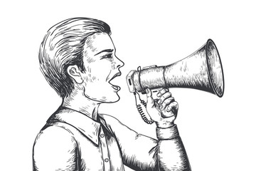Megaphone sketch. Hand drawn loudspeaker engraving illustration, bullhorn announcement concept. Vector old style speaker tools for news and ads on white background