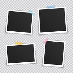Vector Photo frame mockup design. Super set photo frame on sticky tape isolated on transparent background. Vector illustration
