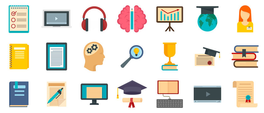 Staff education icons set. Flat set of staff education vector icons for web design