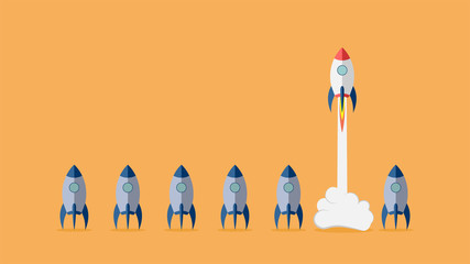 Startup project concept with rocket launch. Vector illustration. Wall mural