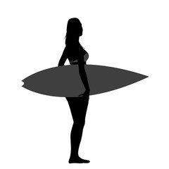 Silhouette of beautiful surfer girl
