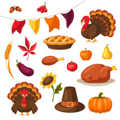 Set of Happy Thanksgiving Day objects and icons.