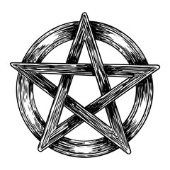 Pentagram drawing. Hand drawn ancient pagan symbol of five pointed star. Black work for flash tattoo. Vector.