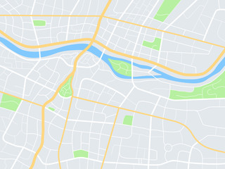 City map. Town streets with park and river. Downtown gps navigation plan, abstract transportation urban vector texture