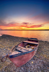 Wall Murals Crimson Beautiful summer sunset over water