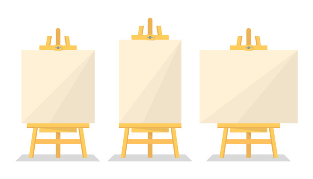 Wooden easel set vector isolated. Blank paper board