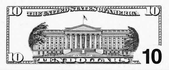 U.S. dollar border with empty middle area
