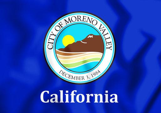 3D Flag of Moreno Valley (California), USA. 3D Illustration.