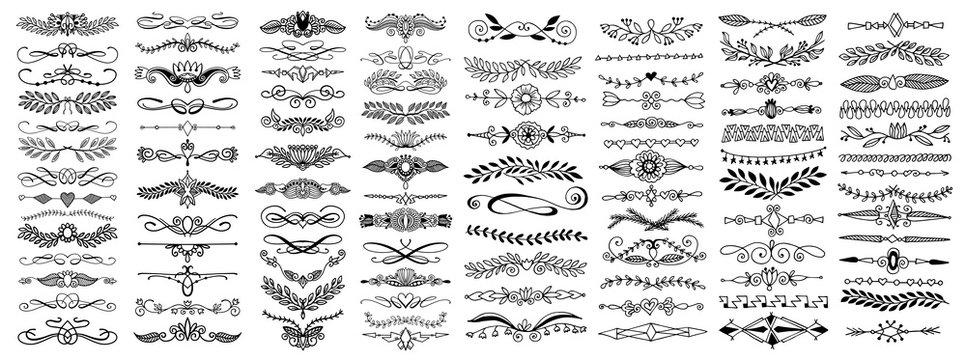 doodle sketch hand drawing divider, leaves and flourish design