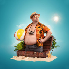 Ready for the holidays, travel concept. Funny overweight man standing out of the suitcase.