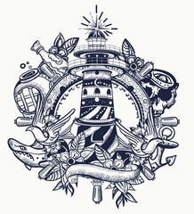 Lighthouse. Tattoo and t-shirt design. Sea adventure art. Beacon, steering wheel, shark, anchor. Old school tattooing style