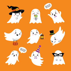 Halloween set of cute funny ghosts
